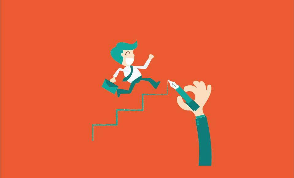 career planning -Businessman climbs the ladder of success [Convertido]